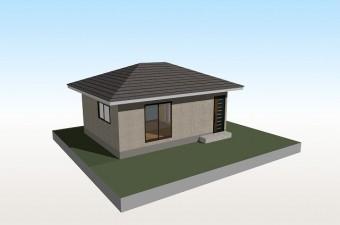 大棟(地上に対し、水平になっている頂上の部分)がある寄棟屋根の写真