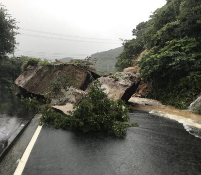台風により被害を受けた道路