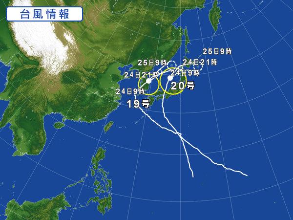 2018年8月24日台風進路図