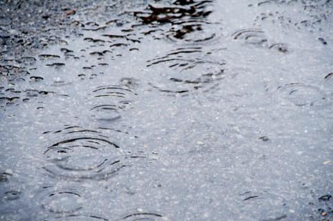 道に溜まった雨