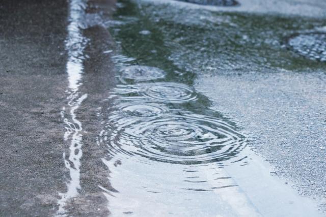 雨の波紋が広がる道路