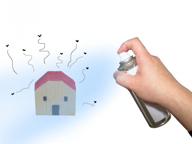 スプレー缶と家の模型