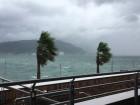 強風が吹く海辺付近