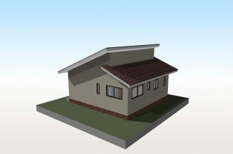 長い屋根と短い屋根の間に段差を付けた招き屋根の写真