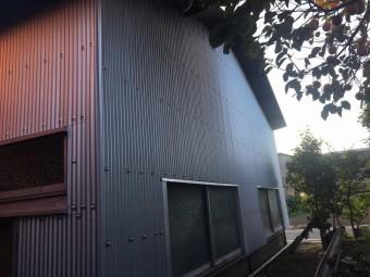 トタン張替え|前橋市倉庫裏庭側