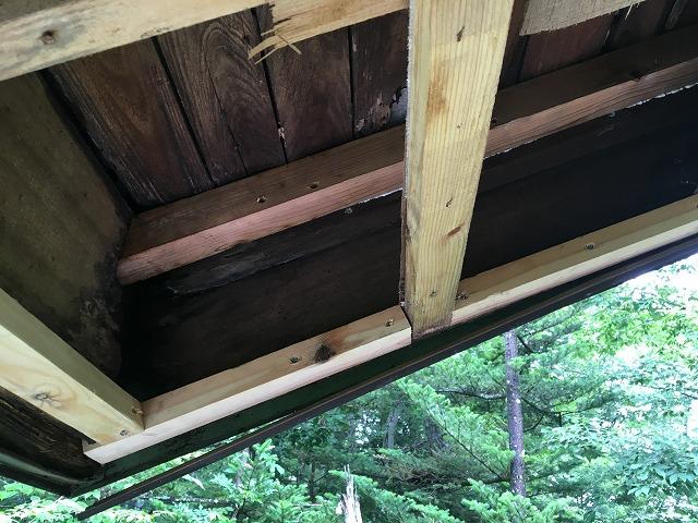 軒天を貼る為の下地を入れ、準備が完了した軒天部分