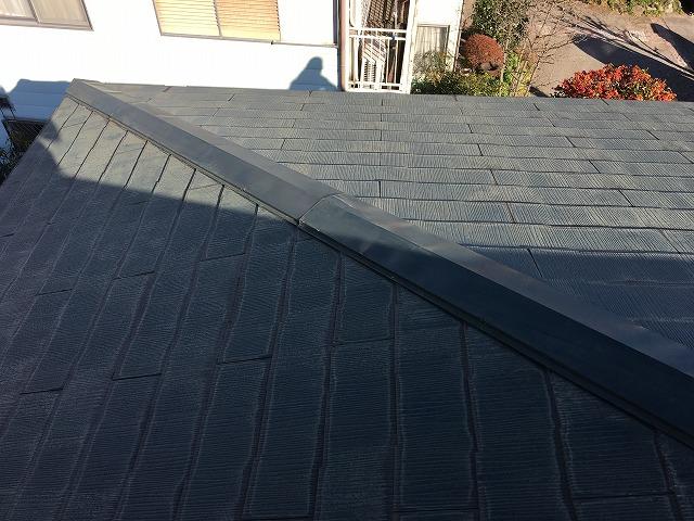 濃い緑色の金属製の屋根