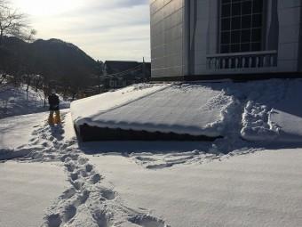 雪が積もった屋根の上