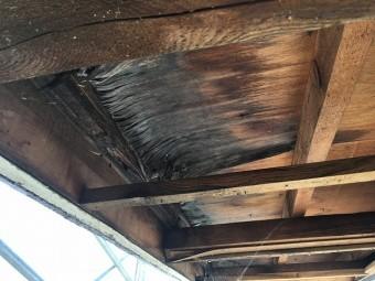 古いベニヤ板を剥がした後の軒天