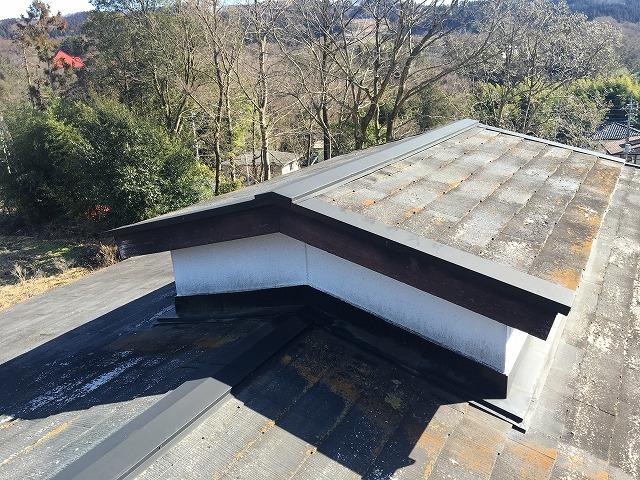 小屋値が付いた黒色のコロニアル屋根