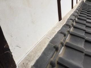 補修後の瓦屋根と壁の間の隙間