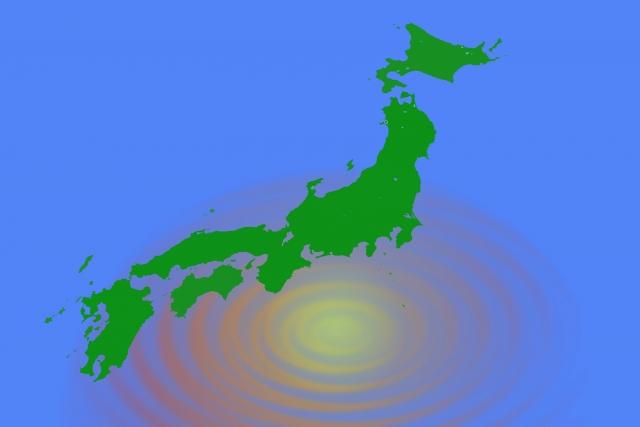 日本列島と地震の波紋