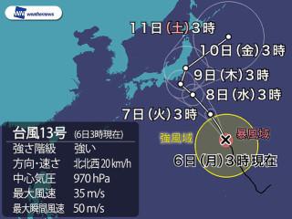2018年8月7日台風進路予想図