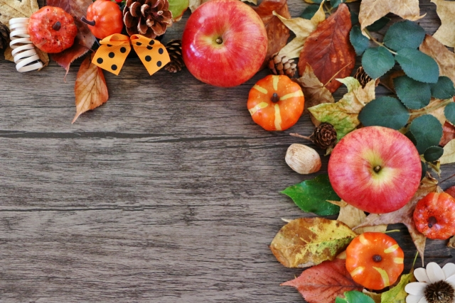 リンゴやカボチャなどの秋のもの